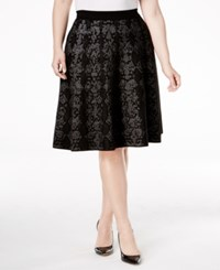 Calvin Klein Plus Size Snake Print Jacquard Fit And Flare Skirt Black
