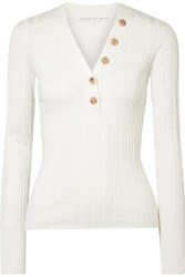 Veronica Beard Beaumont Ribbed Cotton Sweater White