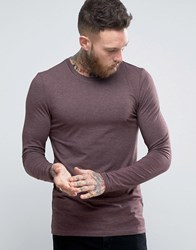 Asos Extreme Muscle Long Sleeve T Shirt In Oxblood Marl Oxblood Marl Red