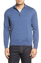 Nordstrom Men's Big And Tall Men's Shop Half Zip Cotton And Cashmere Pullover Blue Dark Heather