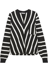Chloe Striped Cotton Sweater Black
