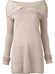 Derek Lam Twisted Off The Shoulder Jumper Nude Neutrals