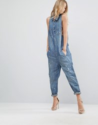 One Teaspoon Slouchy Jumpsuit With Bleach Effect Blue