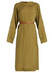Loewe Long Sleeve Sateen Midi Dress Khaki
