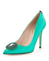 Sarah Jessica Parker Thea Satin Ornament Pump Green Women's