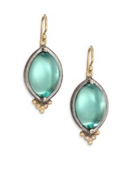 Rene Escobar Green Quartz Mother Of Pearl Diamond 18K Yellow Gold And Sterling Silver Drop Earrings Gold Turquoise