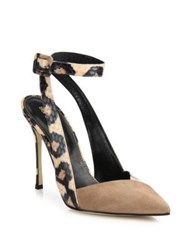 Sergio Rossi Bright Leopard Skin Posh Suede And Leather D'orsay Pumps