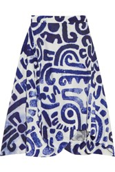 Vivienne Westwood Aztec Asymmetric Printed Cotton Skirt Blue