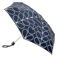 Orla Kiely By Fulton Linear Leaf Tiny 2 Folding Umbrella Navy White