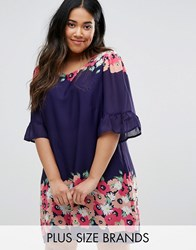 Yumi Plus Swing Dress With Frill Sleeves In Border Print Navy