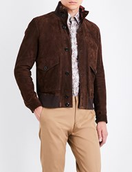 Paul Smith Pocket Detailed Suede Jacket Brown