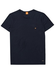 Boss Logo Boss Orange Talentino 2 Raindrop Print T Shirt Dark Blue
