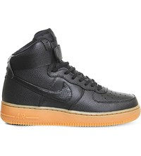 Nike Air Force 1 Patterned Leather Trainers Black Black Gum
