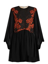 Chloe Floral Embroidered Linen And Silk Dress Black
