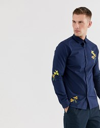 Selected Homme Regular Fit Shirt With Floral Embroidery In Navy