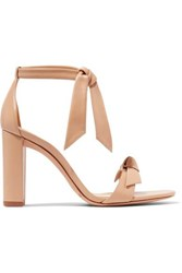 Alexandre Birman Clarita Bow Embellished Leather Sandals Neutral