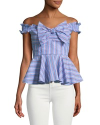 Romeo And Juliet Couture Off The Shoulder Bow Front Peplum Blouse Blue Pattern