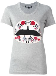 Markus Lupfer Flower Lips Print T Shirt Grey