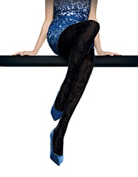 Oroblu Elaine Lace Patterned Tights Black