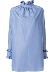 Blindness Frill Trim Blouse Blue