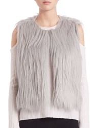 Elie Tahari Lilian Faux Fur Vest Light Grey