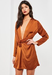 Missguided Orange Satin Wrap Mini Dress Copper