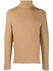 Z Zegna Chunky Knit Roll Neck Jumper Brown