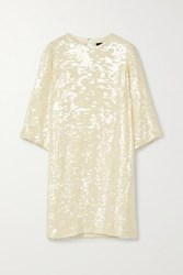 Sally Lapointe Paillette Embellished Georgette Dress Cream