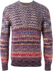 Missoni Zig Zag Knit Sweater Pink And Purple