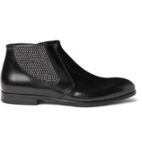 Alexander Mcqueen Studded Polished Leather Chelsea Boots Black