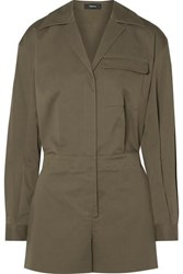 Theory Cotton Blend Poplin Playsuit Army Green