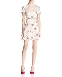 The Kooples Silk Floral Print Dress Ecru