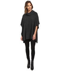 Nydj Cable Cowl Neck Poncho Charcoal Heather Women's Coat Gray