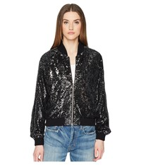 The Kooples Sequin Fabric Jacket With Contrasting Piping Black Coat