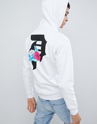 Primitive Skateboarding Flores Hoodie With Large Back Print In White