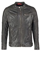 Tom Tailor Denim Leather Jacket Anthrazit Anthracite