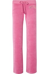 Juicy Couture Palm Iconic Embellished Velour Track Pants