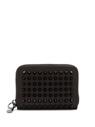Christian Louboutin Panettone Spike Embellished Leather Wallet Black