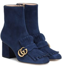Gucci Suede Ankle Boots Blue