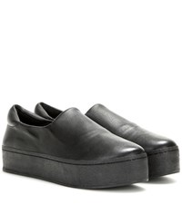 Opening Ceremony Platform Leather Slip On Sneakers Black