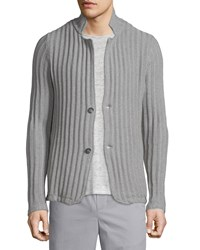 Vince Ribbed Button Down Cardigan Steel Men's
