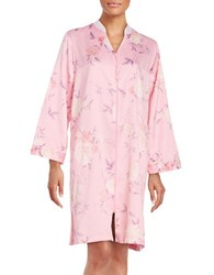 Miss Elaine Floral Print Midi Satin Robe Red