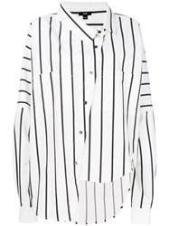 Ji Oh Asymmetric Button Shirt White