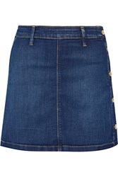 Frame Denim Antibes Stretch Denim Mini Skirt Dark Denim