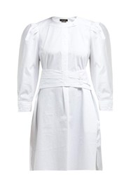 Isabel Marant Galaxy Belted Cotton Shirt Dress White