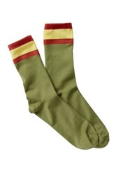 Free Press Sport Stripe Crew Socks Green