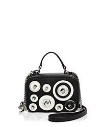 Milly Disc Mini Saffiano Leather Satchel Black White Silver