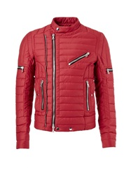 Balmain Biker Padded Jacket Red