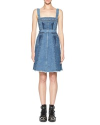 Alexander Mcqueen Sleeveless Denim A Line Dress Blue