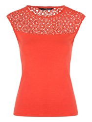 Jane Norman Shell Lace Top Orange